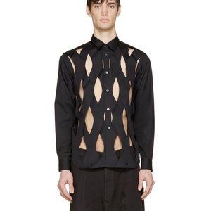COMME DES GARÇONS Lattice Cut Out Button Up Shirt